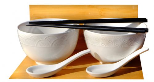 Wave & Star white Rice & Soup Textured Bowls & spoons x 2 - 13.2cm